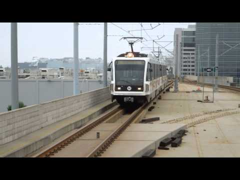 Los Angeles Metro Green Lines Train arrival Aviation/LAX station