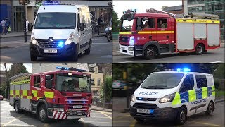 [Unmarked Ambulance] Ladder Truck + Fire Engines and Police Cars responding