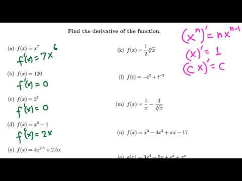 Calculus: A lot of simple derivative examples