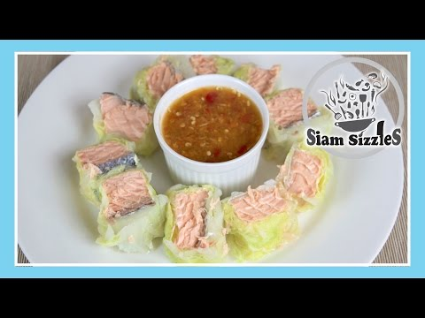 Steamed Salmon Rolls With Spicy Seafood Dipping Sauce