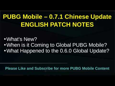 PUBG Mobile 0.7.1 ENGLISH Patch Notes | New Chinese Lightspeed Update Released