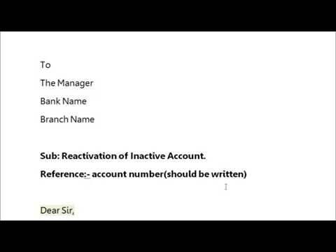How to write application to bank manager to reactivate/ reopen  the account ? || Simplified in Hindi