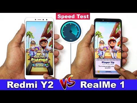 Redmi Y2 vs Realme 1 Speed Test Comparison    in Telugu