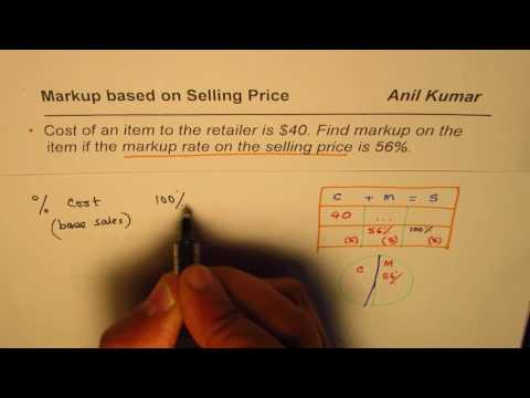 How to Find Markup when Rate is Based on Selling Price
