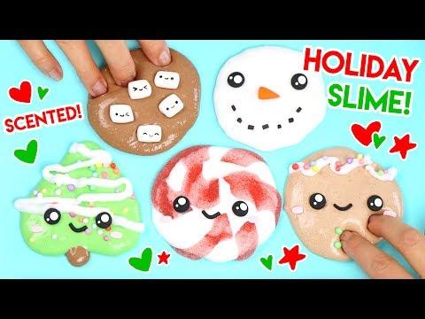 How to Make FIVE Kawaii Holiday Slimes! 🎄🎁