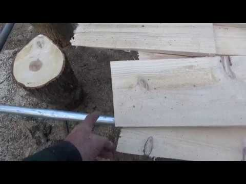 Making a jig for roof shingles on the Woodmizer Mill.