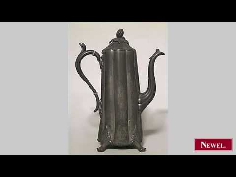 Antique English Victorian pewter tall and slender tea pot