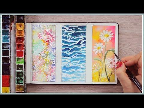 Watercolor Painting Ideas for Beginners   Masking Fluid Technique   Art Journal Thursday Ep. 42