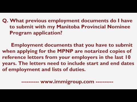 What previous employment documents do I have to submit with my MPNP application?