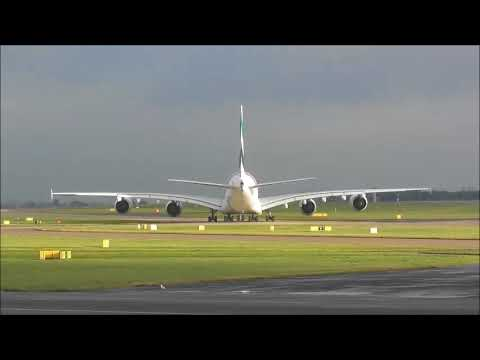 Emirate A380, Push back, Taxi and take off from Manchester to Dubai on 23/12/2017