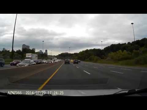 Terrible Toronto Drivers Honda CR-V Quebec Plates FHF7542 Merges Into Faster Traffic