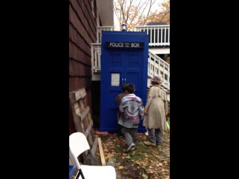 My son seeing his Doctor Who TARDIS build for the first time!