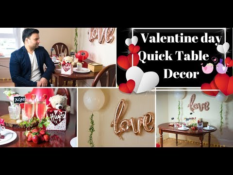 Valentine day table decoration ideas|Quick & easy Candle light dinner table|