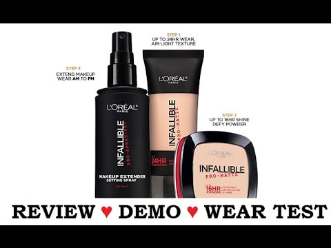 REVIEW ♥ DEMO ♥ WEAR TEST | L'Oreal Infallible Pro-Matte Foundation, Powder & Setting Spray