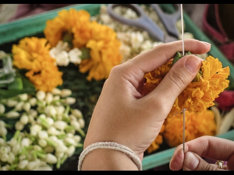 Flower Garland Making Tutorial - How to string Jasmine Flowers