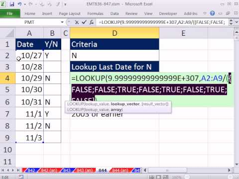 Excel Magic Trick 844: Last Date In Column A For