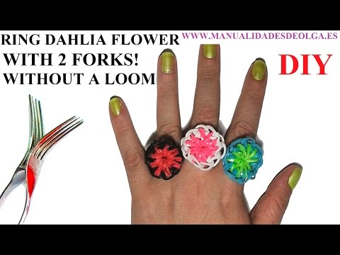 How to make a Flower Dahlia Ring (EASY) with 2 forks. Without rainbow loom. rubber bands flower ring