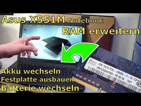 Asus X551M Notebook RAM erweitern + Laptop HDD SSD Akku wechseln