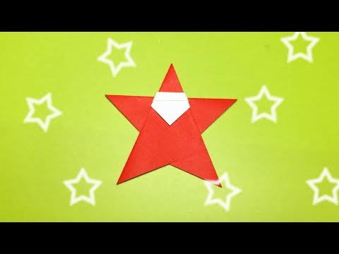 Christmas Origami Santa Claus Very Easy and Cute - How to Make a Paper Star Santa Claus for Kids