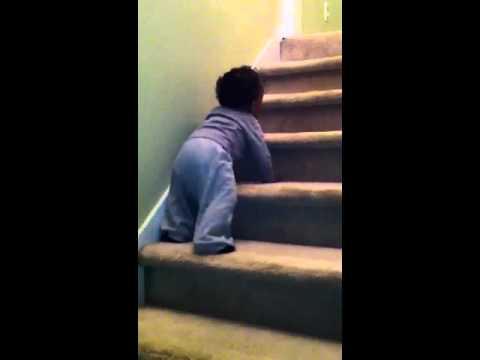 Brenton crawling downstairs 2