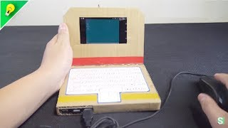 DIY Simple Cardboad Laptop with Smartphone and OTG Cable     Amazing Machine from Cardboard