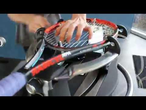 Stringing tennis racquet demonstration