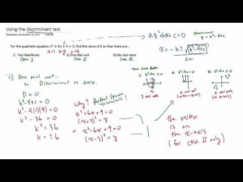 Using the discriminant test to determine the value of k