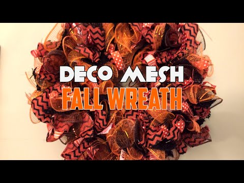 How to make a deco mesh curly wreath