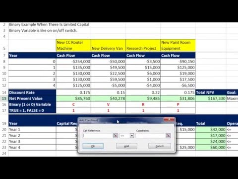 Basic Excel Business Analytics #63: Excel Solver Binary Variable Choose Projects Limited Resources