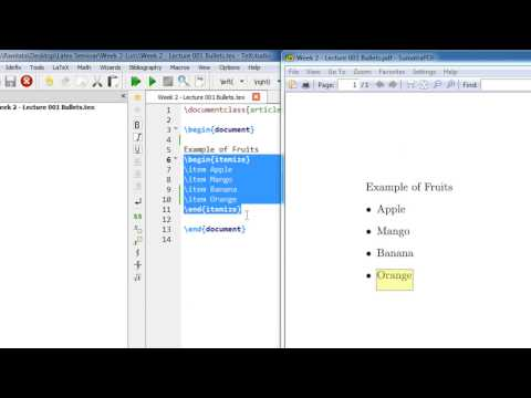 Week 2   Latex Tutorial   Lecture 001 Bullets and Numbering