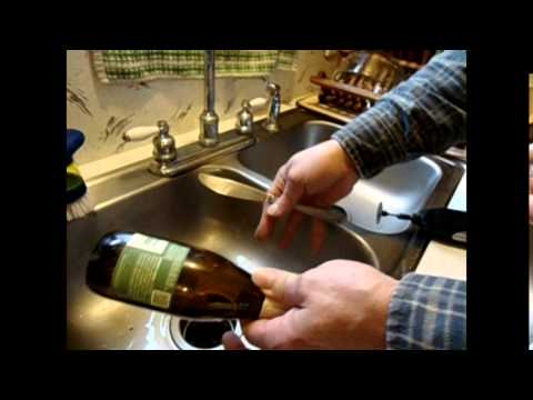 Cutting a hole in a glass bottle