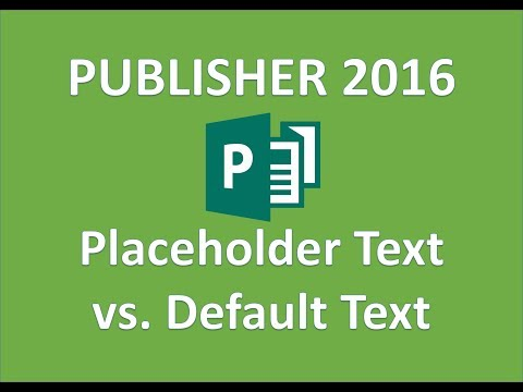Publisher 2016   Replace Publisher Placeholder and Default Text
