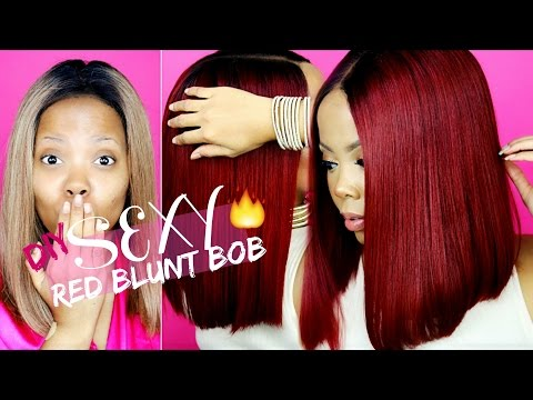 HOW TO DYE HAIR RED  OMBRE RED BLUNT BOB  PERFECT WIG FOR BEGINNERS AFFORDABLE WIG UNIWIGS TASTEPINK