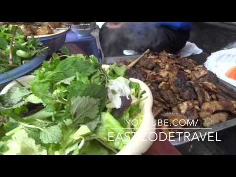 grilled pork and fried spring rolls  Hanoi street food