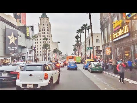 Driving Downtown - Hollywood Center 4K - Los Angeles USA