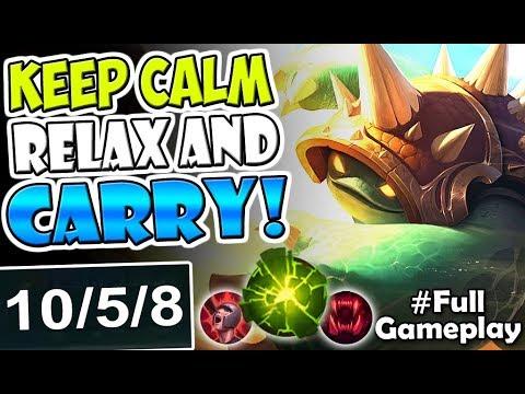 KEEP CALM RELAX AND CARRY | New Runes Rammus TOP LANE | LoL - NEW RUNES SEASON 8 Full Gameplay