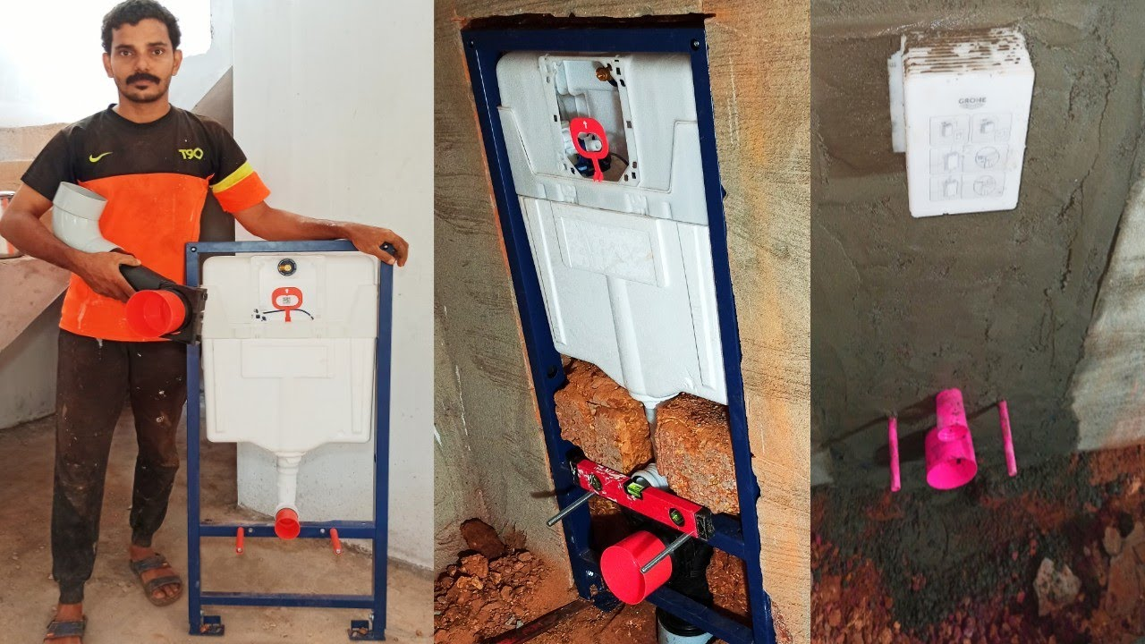 Concealed Flush Tank Installation  ഫുൾ ഫ്രെയിം ഫ്ലഷ് കൺസീൽഡ് ചെയ്തു   Wall Hung Closet Frame Fitting