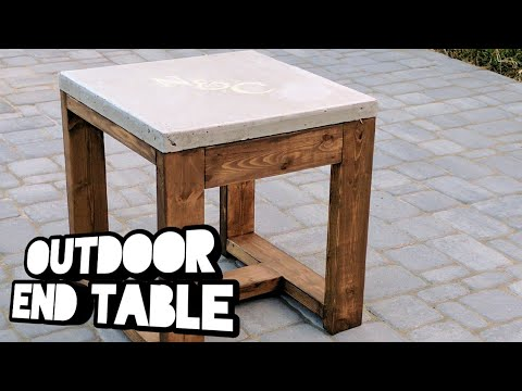 Outdoor End Tables with Personalized Concrete Top