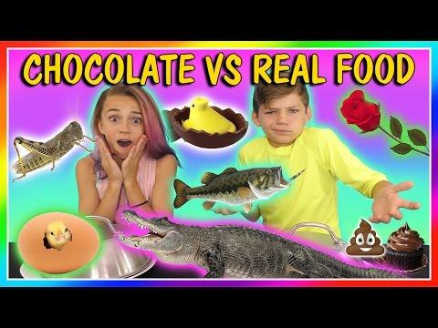 CHOCOLATE VS REAL FOOD CHALLENGE | We Are The Davises