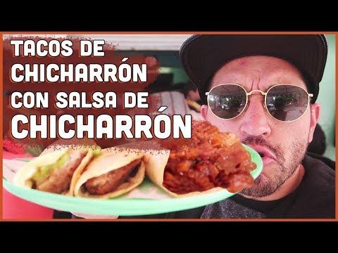 Tacos de Canasta de CHICHARRON con Salsa de CHICHARRON