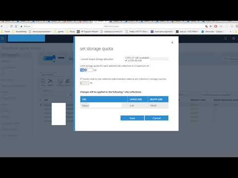 How to change space quota limit SharePoint Team Site Office 365