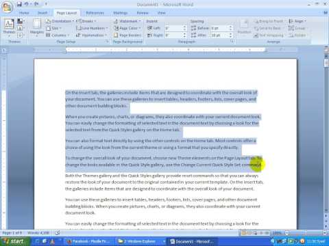 Ms Word 2007 in telugu Page Layout Group and arrange group part 11(www.timecomputers.in)
