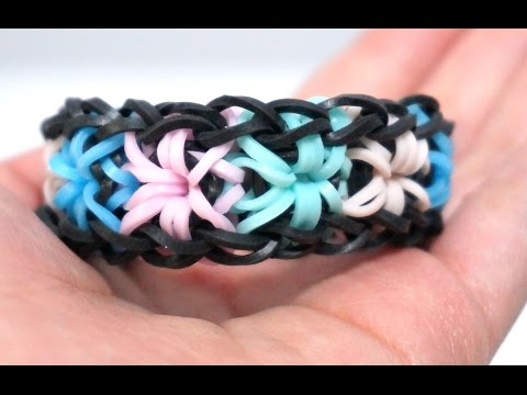 Rainbow Loom Starburst Bracelet with 2 forks no hook -  Colorful Rubber Bands .DIY.