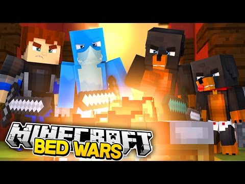 DONUT WETS THE BED!! Minecraft BED WARS !! w/ Donut the Dog and Baby Max
