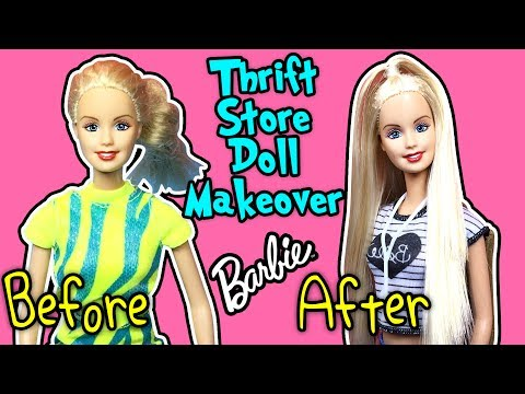 DIY Thrift Shop Doll Makeover - Barbie Doll Hairstyles and Clothes - Making Kids Toys