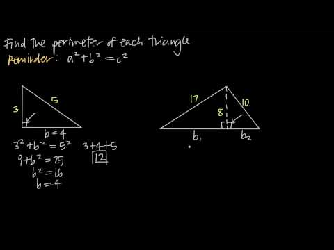 finding perimeter using the pythagorean theorem (KristaKingMath)