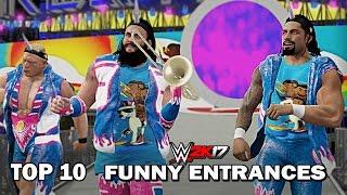 "WWE 2K17 - Top 10 Funniest Entrances ""GIMMICK SWAP"" Strowman, Reigns, Lesnar & More! (PS4 & XB1)"