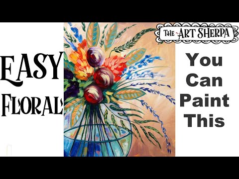 Beginners Acrylic Painting Abstract Flowers in a Vase