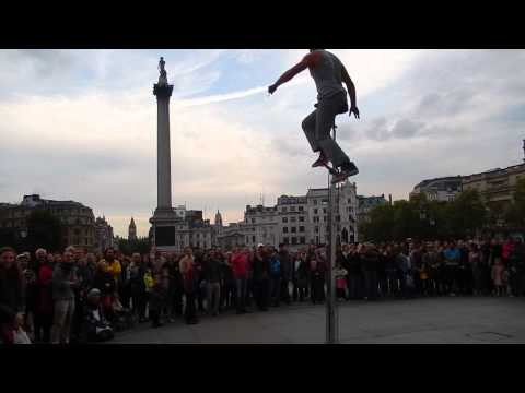 Busking on a tall unicycle