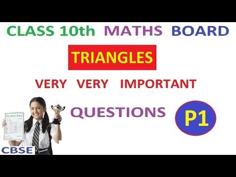 Class 10th Maths | Triangles Important Board Questions Part 1